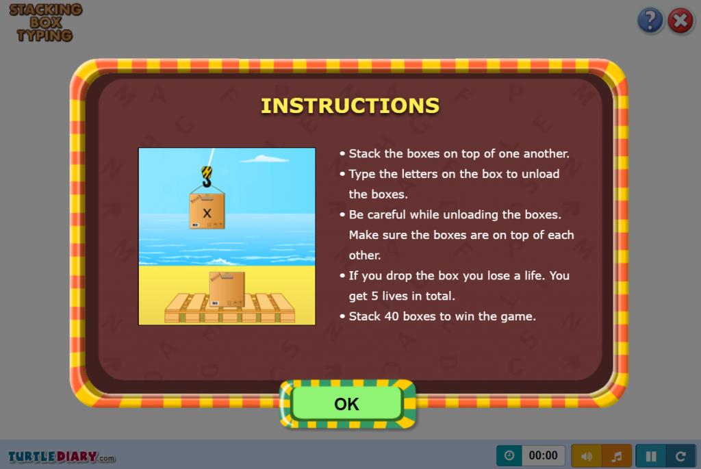 stacking box typing games